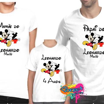 Camisa Aniversário Mickey e Minnie 3 Pç