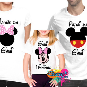 Camisa Aniversário Minnie e Mickey 3 Pç