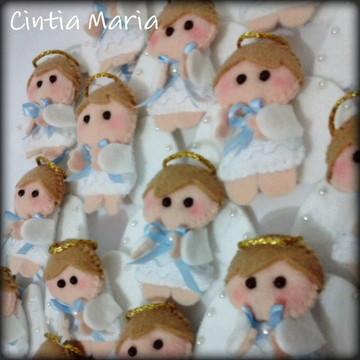 Lembrancinha anjo anjinho azul feltro