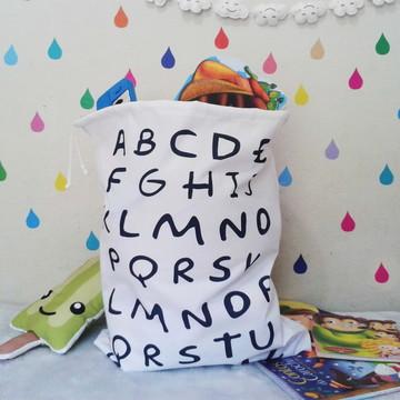 Saco Organizador de Brinquedos Alfabeto