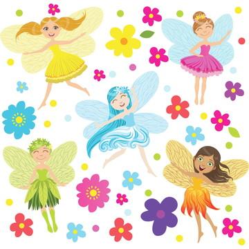 Adesivo de Parede para Quarto de Menina Fadas e Flores