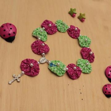 Mini terço de fuxico pink e verde
