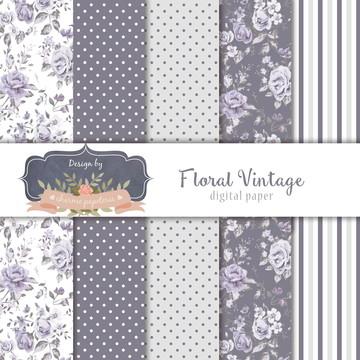 Kit papéis digitais Floral Vintage