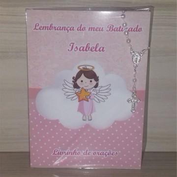 Livrinho de Orações com Mini terço Batizado Menina