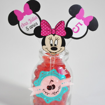 Topper Minnie rosa recorte