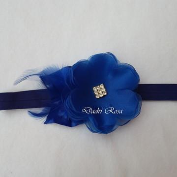 Faixa Luxo Flor c/ plumas azul Royal