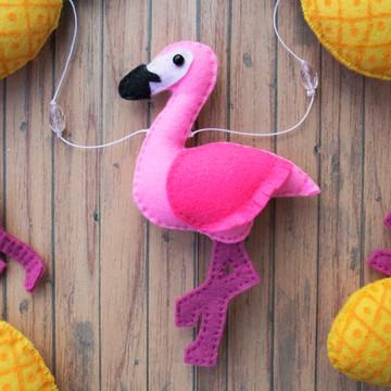 Chaveiro Flamingo e Abacaxi Tropical