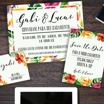 Kit Casamento Convite Tropical