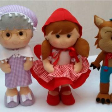 Trio chapéuzinho vermelho em feltro