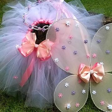 Fantasia Fadinha Flores e Borboletas