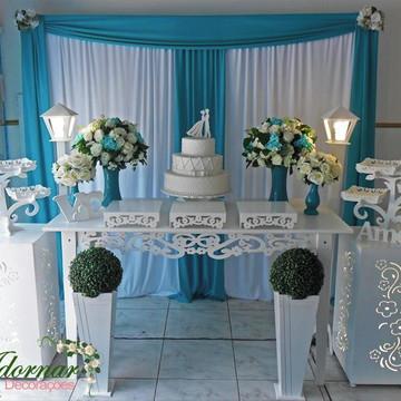 Aluguel Decoração Casamento Azul Tiffany e Branco Mesa Bolo