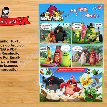 Convite Digital Gibi Angry Birds