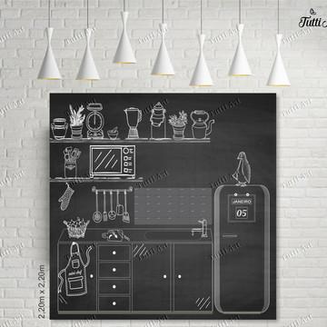 Painel Chalkboard Cozinha Mini Chef - arte digital