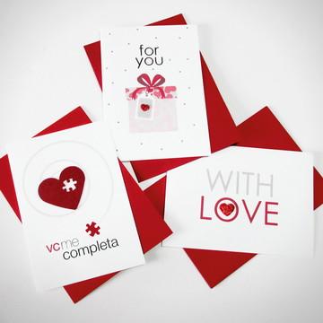 Kit Heart - 3 Cartões de Amor