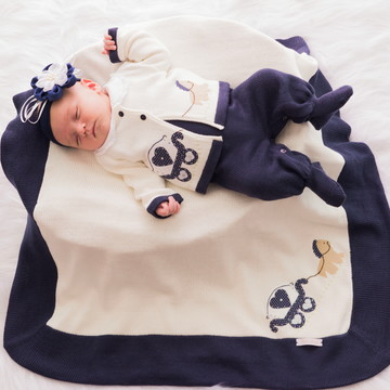 Saída Maternidade Carruagem Azul Marinho