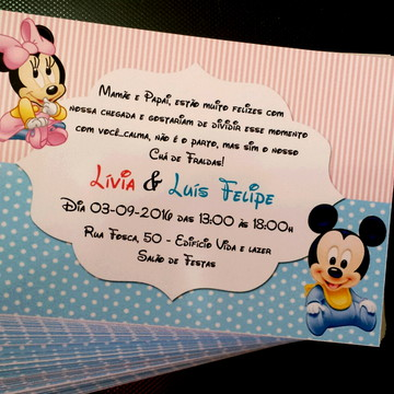 Convite Personalizado Mickey Minnie Baby