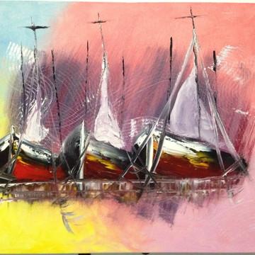 Quadro - Barcos pintado a mão