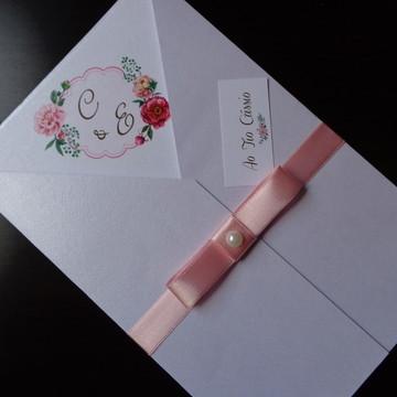 Convite Perola Brasão Flores