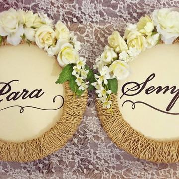 Placa para Cadeira dos noivos Rústica flores brancas