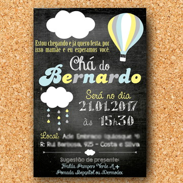 Convite Chá Nuvem Chalkboard (digital)