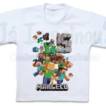 Camiseta Minecraft com nome e idade