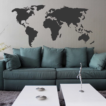 Adesivo Decorativo Mapa Mundi Black
