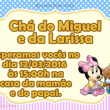 Convite Baby Disney Casal
