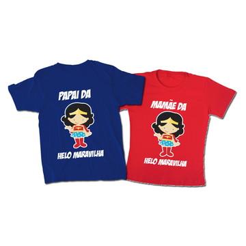 Camiseta Pai e Mãe Mulher Maravilha Cute