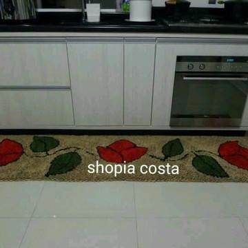 tapete frufru trilho cozinha flor
