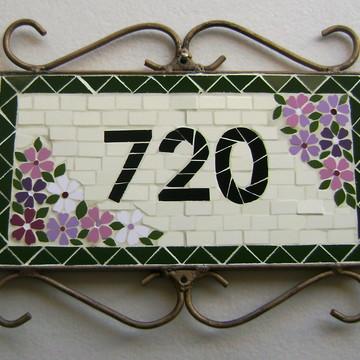 Placa de Número em mosaico