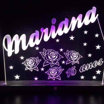 Luminária Led 15 Anos Rosas, Estrelas, Festa Neon, Seu Nome