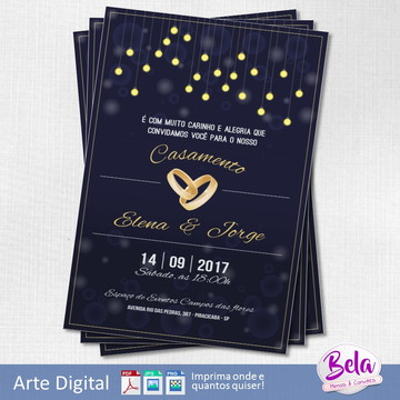 Convite Digital Casamento Elegante Azul