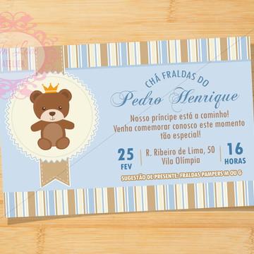 Convite Digital Urso príncipe