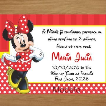 Convite Personalizado 10x15 - Minnie