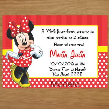 Convite Personalizado 10x7 - Minnie