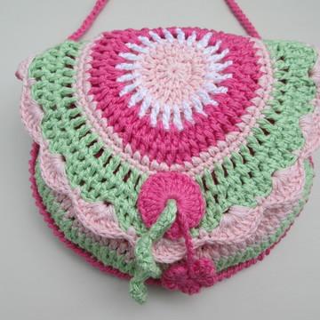 Bolsa de crochê infantil colorida