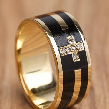 Anel Ouro/madeira Santa Fé em Diamantes