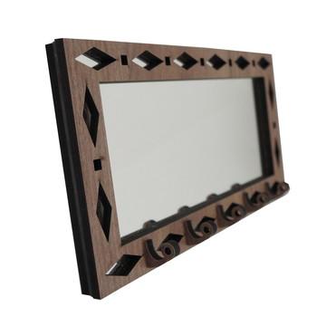 Porta Chaves Marrom Espelhado Geométrico
