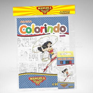 Kit Colorir Mulher Maravilha + Brindes