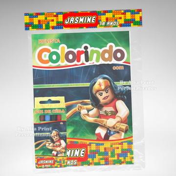 Kit Colorir Mulher Maravilha Lego + Brindes