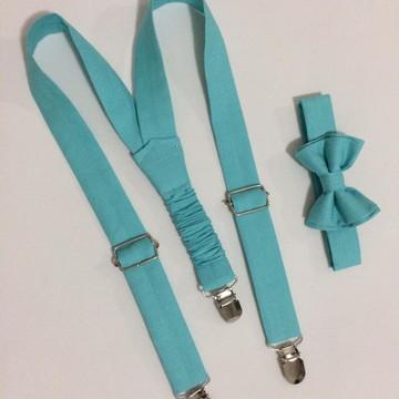 Suspensório e gravata infantil azul tiffany