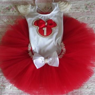 Conjunto de Tutu Minnie Vermelha