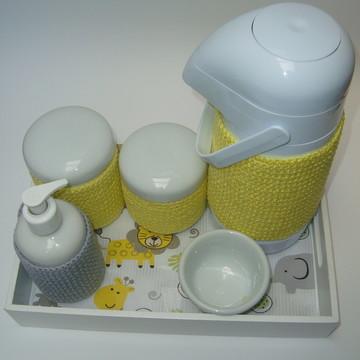 Kit Higiene Porcelana e Crochê Rei Leão