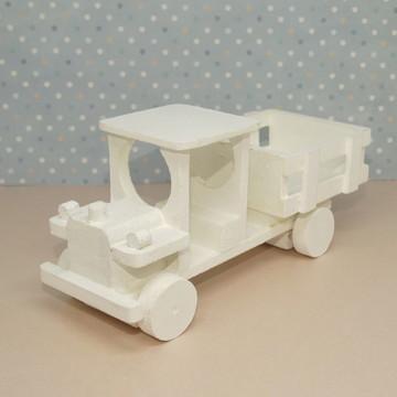 Mini caminhão de mdf branco