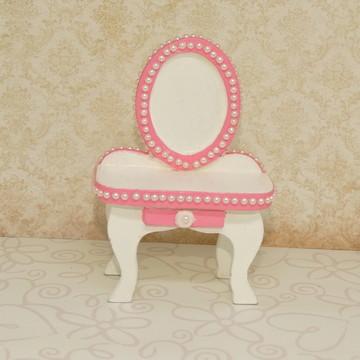Mini penteadeira de mdf branca e rosa