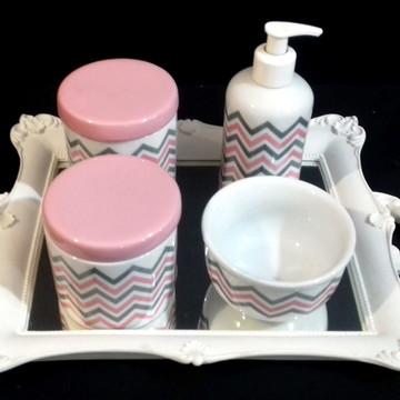 Kit bebe porcelana chevron rosa e cinza