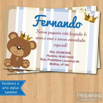 Convite - Urso coroa / urso principe