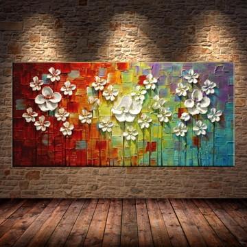 Quadro Pintura Tela Abstrato 50x100cm #2054