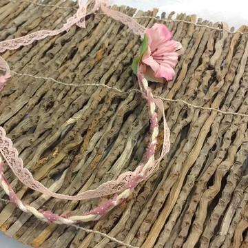 Headband renda rosa