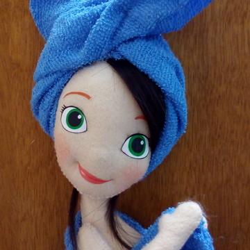 Boneca enfeite porta de banheiro